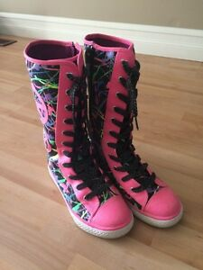 Justice high top sneakers - size 6 youth