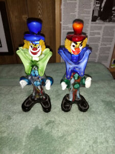 1950s-1960s Hand Blown Glass Clowns Made in Italy.