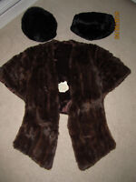 mink wrap, hat and purse/muff