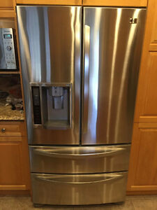 EXCELLENT CONDITION LG STAINLESS STEEL 4 DOOR FRIDGE