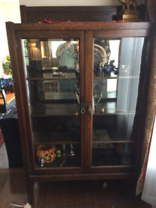 "Antique China Cabinet, 1880 ""Mission Oak"" - REDUCED!!"