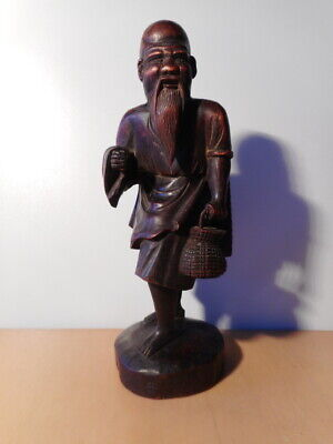 Statue Sculpture Chinese Wood Carved Old Man Sage Chinese China