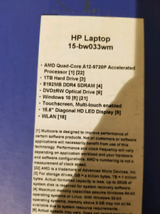 Hp 15.6 touchscreen A12 laptop