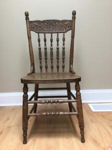Antique Press Back chair.   $30.00