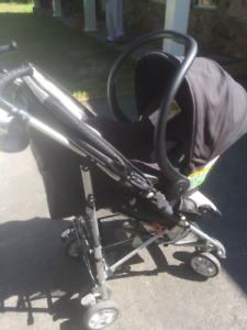 Car seat and stroller. Maxi Cosi Mico. Seat clicks into stroller