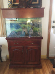 Aquarium in wood stand / Aquarium en bois