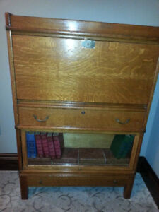 Beautiful Antique Oak Drop Desk Secretary Book Case