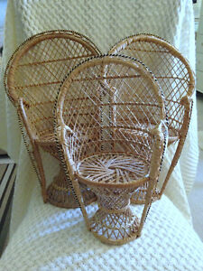 Set of 3 Wicker High-Backed Chairs ~ Dolls