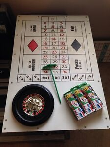 Hand Crafted Roulette Table with Chips, Marbles, Rake and Cases London Ontario image 1