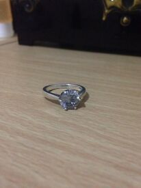 Simulated Grey Diamond Ring