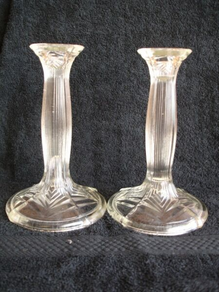 Vintage Pair of Pressed Glass Ribbed Candlestick Holders.