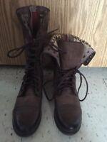 Brand new brown combat boots