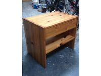 Pine bedside cabinet with drawer