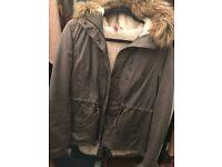 H&M shortstyle brown coat size 14