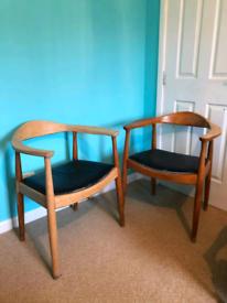 Midcentury Hans J Wegner Round Chair Style Danish Armchairs