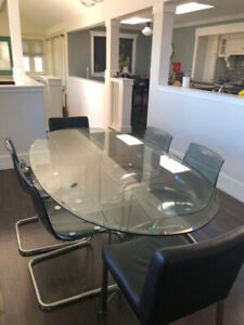 oval glass dining table with six chairs