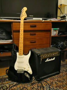 Guitar, amp, and accessories