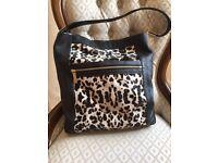 Marks & Spencer Autograph Black & Black/White Leopard Skin Hobo Bag
