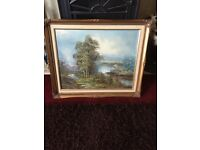 Gilt framed Scenic oil on canvas, signed T Wood
