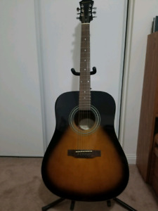 GIBSON EPIPHONE ACOUSTIC GUITAR w/ TUNER AND STAND