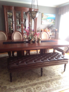 Genuine leather cuir veritable ottoman bench banc