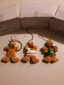 "Set of 3 Gingerbread ornaments 3"" tall new in box"