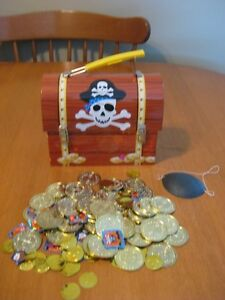 PIRATES TREASURE CHEST TIN WITH TREASURE and EYE PATCH