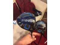 PING G SERIES SF TEC DRIVER AND SF TEC 3 WOOD WITH EXTRA UPGRADED REGULAR FLEX SHAFT BOTH CLUBS MINT