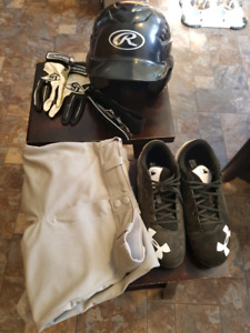 Baseball pants, cleats, helmet, belt