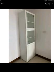 Single white Ikea besta storage unit