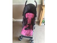 Maclaren quest Girls buggy stroller pram pink & brown