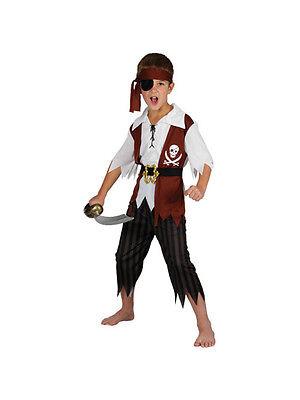 Cutthroat Pirate Caribbean Fancy Dress Costume Child Kids Boys Male - Caribbean Pirate Boy Kostüm