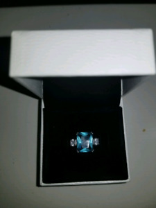 2, 0.04 carat/2.2mm Sterling Silver Aquamarine Birthstone Ring