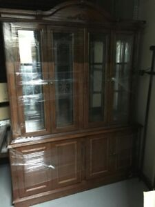 Traditional Wood Dining Set with Buffet and Hutch