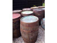 Old oak whiskey barrels