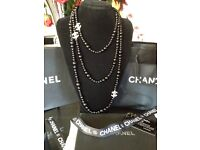 Chanel black pearls