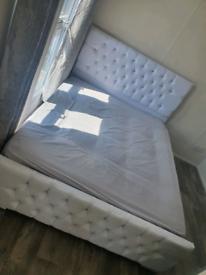 New White Plush Kingsize Bed Frame