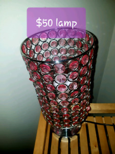 Pink lamp $50 purple mirror$90 purple dresser $120