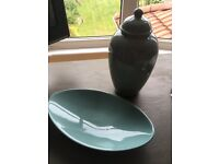 Duck egg blue vase and oval dish