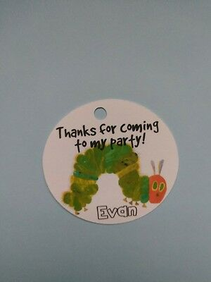 12 Personalized The Very Hungry Caterpillar birthday party favor tags Eric Carle