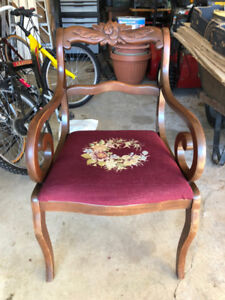 Vintage Mahogany Arm Chair with Needlepoint Seat