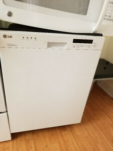 "LG white 24"" under the counter dishwasher stainless steel INSIDE"