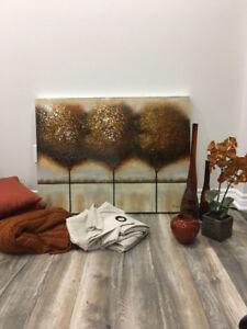 cadre/déco/coussin/jetée/rideau/pôle noir en bois
