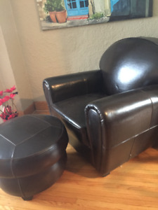 Leather chair and matching ottoman