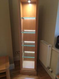 Oak finish display cabinet