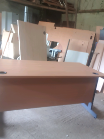 Beech office desk with matching underdesk pedestal