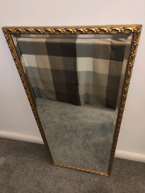 Beautiful vintage gold 1940s Antique Style XL Wall Mirror.