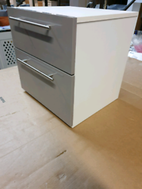 A new stylish grey gloss finish 2 drawer bedside table.