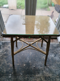 Lloyd loom glass topped side table