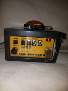 antique taxi meter,, wired and works as the ones in the old cabs